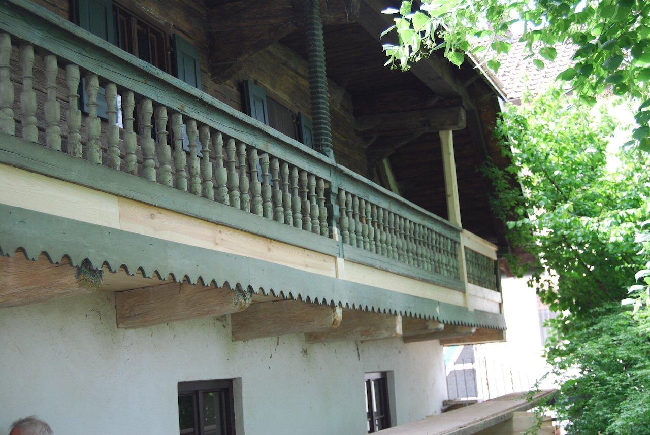 Balkon (umlaufender Schrot) während der Restaurierung